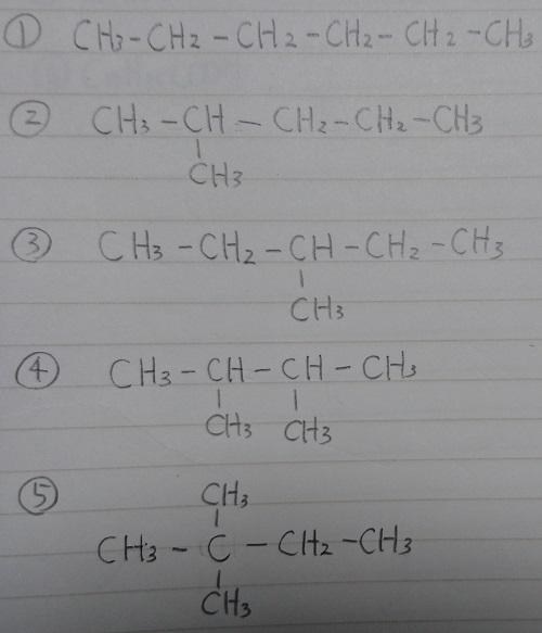 体 異性 c6h14 構造